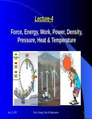 Force, Energy, Heat and Temperature