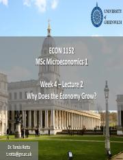 Econ1152 - Week 4 - Lecture 2 -  Why Does the Economy Grow.pdf