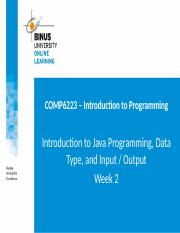 2016011313385800012261_COMP6223 - Week 2 - Introduction to Java Programming, data types and input ou