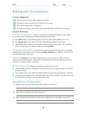 4 5 Aquatic Ecosystems Pdf Name Class Date 4 5 Aquatic Ecosystems Lesson Objectives Discuss The Factors That Affect Aquatic Ecosystems Identify The Course Hero