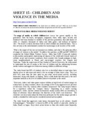 SHEET 15 CHILDREN AND VILENCE IN THE MEDIA