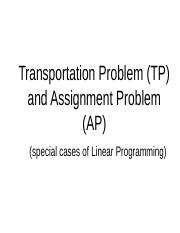 -Transportation and Assignment Problems