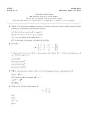 Midterm Exam 2 Solution Spring 2011 on Numerical Methods