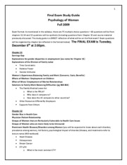 Study guide and sample questions-Fall 2009