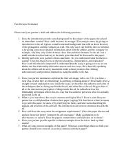 Questions for Peer Review