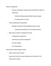 Notes on Network management