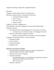 Cognitive Psychology- Study Guide- Language Production