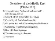 The Arab World in the 1970s, Iranian Revolution and Iran-Iraq war