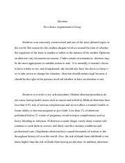 Abortion Argument Essay