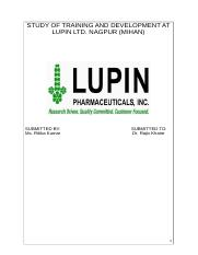 STUDY OF TRAINING AND DEVELOPMENT AT LUPIN LTD