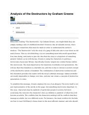 an analysis of the destructors by graham greene The destructors by graham greene essay, buy custom the destructors by graham greene essay paper cheap, the destructors by graham greene essay paper sample, the destructors by graham greene.