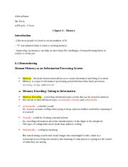 Psychology - Chapter 6 Notes - Memory