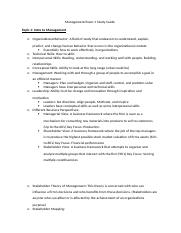 Management Exam 1 Study Guide
