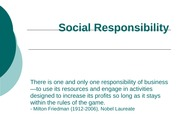 Being Socially Responsible