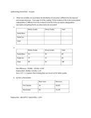 Epidemiology Worksheet - Answers