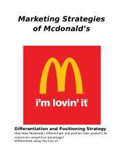 mcdonald positioning strategy