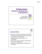 Lecture 7 & 8 - Relationship Formation and Theory student