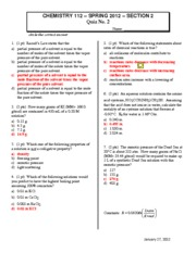 2012 CHEM112 Quiz2 Section2 Answers