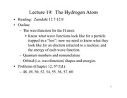 Lecture 19 on the Hydrogen Atom
