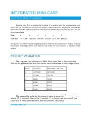 2016 06 11 FIN 3400 Integrated Mini-Case - Project Valuation (CHAPTER 13).docx