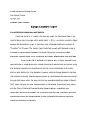 Egypt Country Research