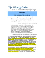 Origins of the Cold War - Lecture