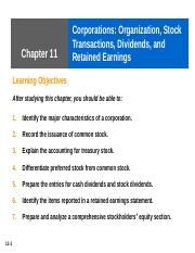 Ch 11 Corporations- Organization, Stock Transaction,s Dividends, & Retained Earnings