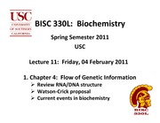 BISC 330 Spring 2011 Lecture 11