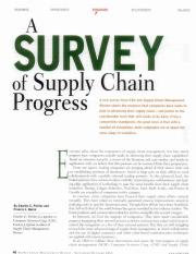 A survey of supply chain progress