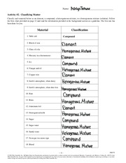 Printables Classifying Matter Worksheet classifyingmatteractivity pdf name activity 2 classifying matter