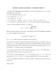 Metric Spaces Problem Sheets