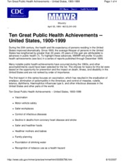 Great Achievements in Public Health - U.S. (Lecture 1-10 )