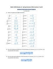 Math 1190 -- Solutions to the Practice Test for Chapter 2