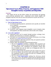 CHAPTER 10 Operational Assets (Plant, Property, and Equipment AND  Intangible Assets): Acquisition a