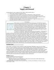 Chapter 3 - Supply and Demand - Notes