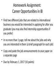 Homework Assignment - Career Opportunities in IB