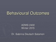 Behavioral Outcomes - Lecture and Notes