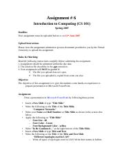 Introduction to Computing - CS101 Spring 2007 Assignment 06.doc