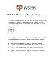 FINC 5001 Mid-Semester Practice Questions Master(1)