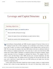 Chapter 13 - Leverage & Capital Structure
