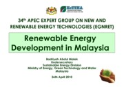 Malaysia RE Development by Ministry of Energy