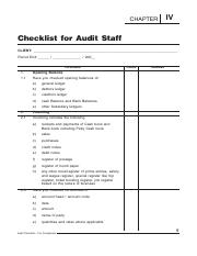 Chk List for Audit Staff