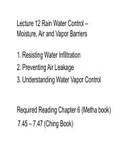 231-12 Lecture 12 Rain Water Control – Moisture_ Air and Vapor Barriers