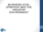 BMGT 892 - Business Level Strategy & Competitive Dynamics