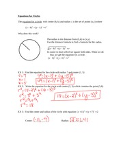 equation of a circle notes pdf