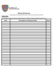 AAS Physical Activity Log