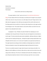 A Very Old Man With Enormous Wings Essay  Garibay  Garibay   Pages A Old Man With Wings Analysis Two Proposal Essay Topic also High School Admission Essay Examples  Thesis Statement Essay