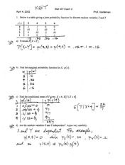 Stat 447 Exam 2 Solutions