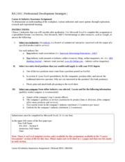 BA 2101 - Career  Industry Awareness Assignment Revised August 2015