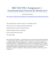 MGT 505 Week 3 Assignment 1 - Communication Process for Nestle Int'l - Strayer University NEW
